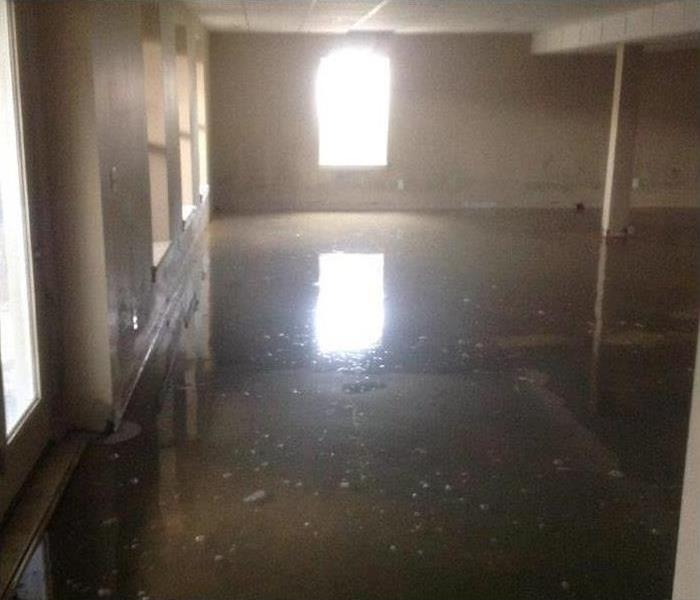 flooded, dirty water inside the service areas