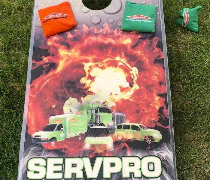 SERVPRO corn hole board.