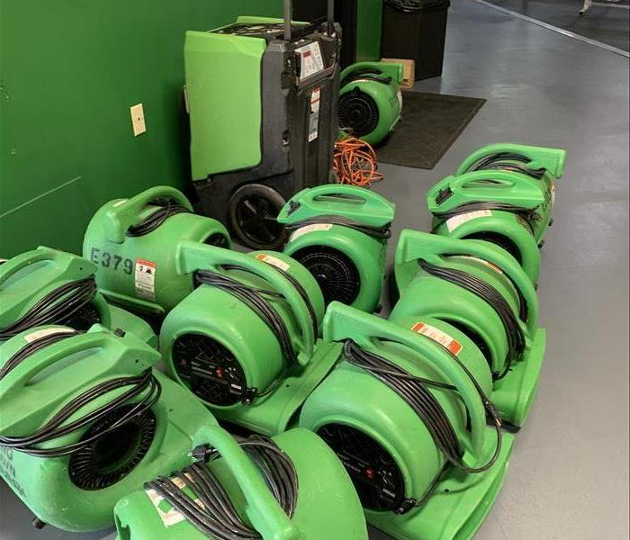 lined up drying equipment  green