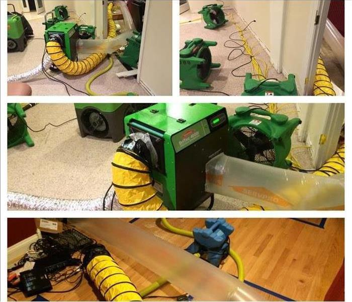 A collage of pictures showing our water restoration equipment drying up the water damage